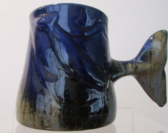 Ceramic Pottery Whale tail mug