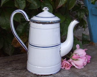 Vintage French Enamel Coffee Pot - Early Enamel Coffeepot Blue White  French Country Kitchen, Enamelware, Graniteware, Cafetiere Emaillee