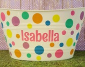 Personalized Basket , Easter Bucket, Toy Basket, Oval Tub with Polka Dots, Baby Shower Gift, Bridal Shower Gift