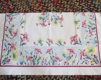 Vintage 1950 Flowered tablecloth. Cleaned and pressed - estate find!  Possible steampunk project!