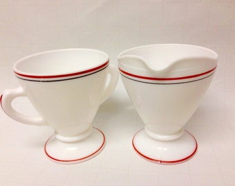 "Vintage Hazel Atlas Ovide Red and Black ""Bands And Stripes"" Creamer And Sugar Set,  1950s Collectible/USA Made/Kitchen Glasswares Moderntone"