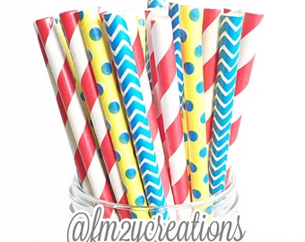 Snow White Birthday | Snow White Party Decorations | Paper Straws | Drinking Straws | Red Blue Yellow Paper Straws | Super Hero Party