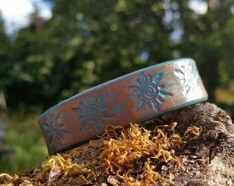 Leather Cuff, Sun Bracelet, Turquoise Brown, Distressed Style, Stamped Design, Boho Hippie, Ladies Accessories, Earthy Jewelry, Easy snap