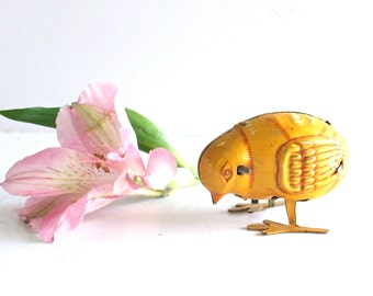 Antique HAJI Vintage Wind Up Litho Tin Pecking Chick, 1950s Toy Made in Japan, Mid Century, Retro Toy