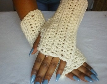 Beige Fingerless Gloves-Ribbed Fingerless Gloves