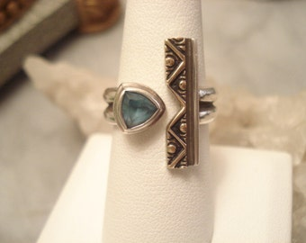 MARK JIMENEZ Vintage Native Blue Topaz Sterling Ring With Partial Gold Overlay By Well Known Artist