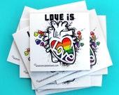 LOVE is LOVE - Anatomical Heart Pride Sticker