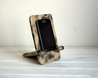 Wooden handmade stand for iphone and ipad. Burnt oak. Vintage style.Decor stand.accesory for iphone.accesory for ipad.
