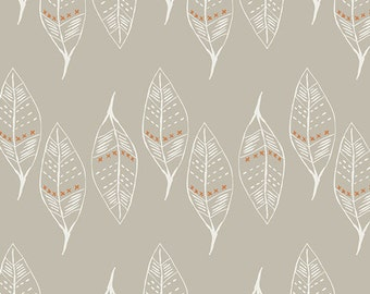 Knit Fabric Wanderer, Gust of Leaves, in Silver by April Rhodes for Art Gallery Fabrics