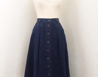 Vintage Denim Leslie Fay Button Down Skirt