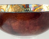 Gourd bowl for sale  [FGC-B33] - copper brown - gold leaf - gourd bowl - Fire & Gold Collection