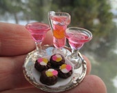 Dollhouse Miniatures - Valentine's Day Pink Cocktail Set for 2 with Cupcakes Sweet Treat