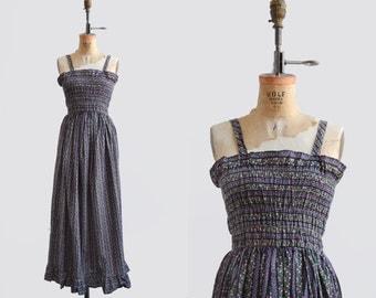 Banditos Dress / 1970s cotton maxi dress / floral vintage sundress