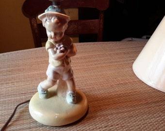 Vintage Bo-Low chalkware nursery Lamp.boy with flower's