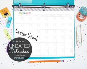 30% OFF Calendar Undated Planner Printable, 12 Months, Letter Size - INSTANT DOWNLOAD - for Planner