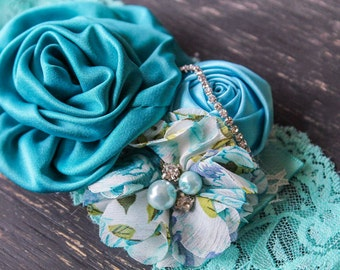 Aqua Teal Vintage rolled Couture headband, baby headband,vintage Couture headband , Photo prop, Vintage headband , Girl headband