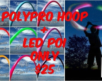 Colored Polypro Hula Hoop Plus a Pair of LED Poi Balls