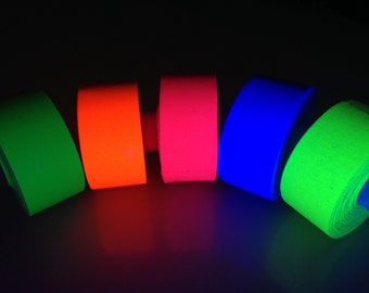 "5 Roll Pack GLOW UV Neon Gaffers Tape 1"" 15 ft Rolls ALL Colors"
