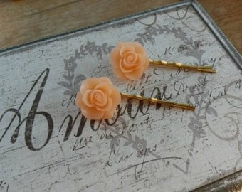 Peach Flower Hair Grip Pair/Wedding Hair/Prom Hair/Flower Hair Slides/Bridesmaids/Updo Style/Flower Hair Accessories/Cute Hair Grips