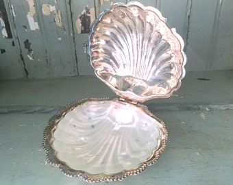 silver plate hinged clamshell dish