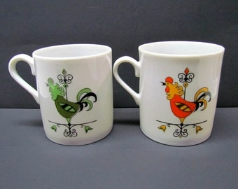 Vintage DECORATIVE CERAMIC MUGS, Rooster / Chicken Decor - Kitchen Decor - Home Decor - Collectibles
