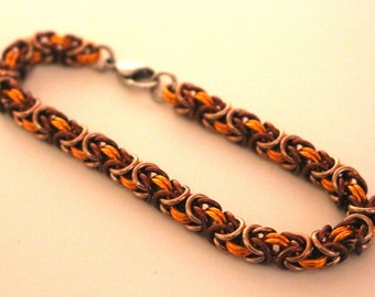 Orange, Brown, and Champagne Anodized Aluminum Byzantine Chainmaille Bracelet