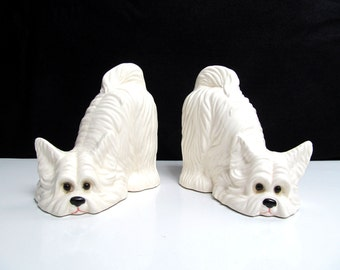 Vintage ceramic dog bookends, Scottish terrier, Yorkie, Yorkshire Terrier, white dog, long haired dog, small dog, Height 5.2 in / 13.3 cm