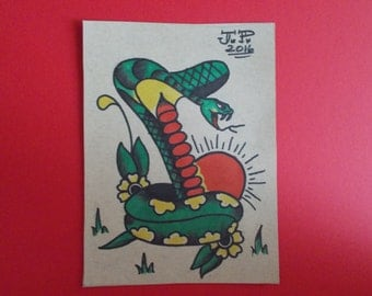 VINTAGE TATTOO COBRA tattoo flash,american traditional tattoo flash,sailor art,rockabilly,hotrod,americana, snake,cobra,tattoo snake,