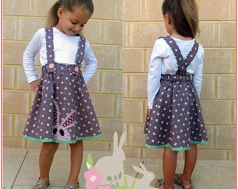 Sewing pattern for girls skirt TOPSY TWIRLY Skirt sizes 1 to 12 years, flared twirl skirt pdf sewing pattern, easy to sew