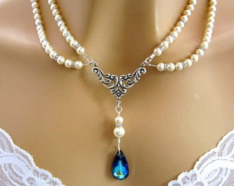 Bridal Jewelry, Bridal Necklace, Wedding Necklace, Romantic Victorian Necklace, Something Blue, Swarovski Crystal and Pearl Jewelry