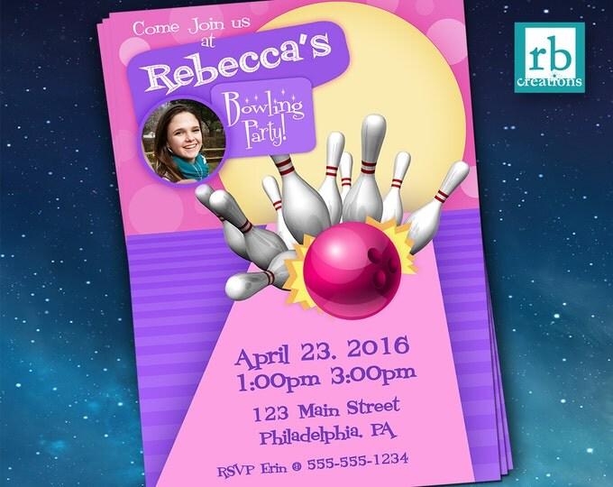 Bowling Party Invitations, Bowling Birthday, Photo Invitations, Girl Bowling Invtation - Digital Printables