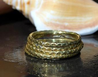 Brass Stack Ring - Durable Brass Stacking Ring - Textured Brass Ring - Brass Band - Dainty Brass Ring - Boho Brass Ring