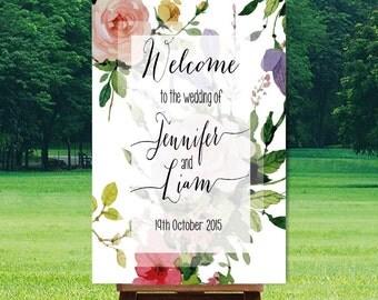 Printable Wedding Welcome Sign, Watercolor, Vintage Boho DIY Printable Sign, Wedding Signage - Miranda Design