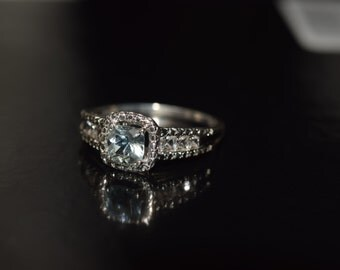 Aquamarine & white sapphire sterling silver ring
