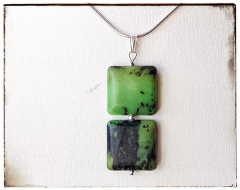 Modern STERLING silver necklace - natural, green SERPENTINE stone pendant with sterling silver snake CHAIN, elegant.