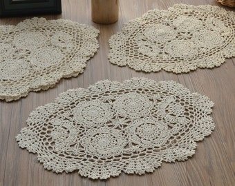 """Dozen 16"""" Ecru Oval Crochet Doilies Coasters Cotton Rustic French Country Floral Country Cottage Chic"""