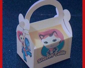 Sheriff Callie party favor box,  Sheriff Callie bithday favor box, Sheriff Callie theme box