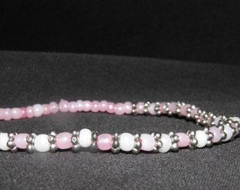 Pink, White, & Metal Bead Stretch Bracelet