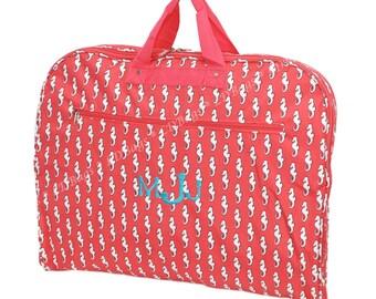Monogram Personalized Garment Bags Mens | Womens Clothes Bag | Luggage Travel Garment Bag | Dance Cheer Garment Bags Seahorse Coral Pink