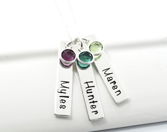Personalized Mother Necklace Grandmother Hand-Stamped Necklace | Three Bar Mother Child Necklace with Birthstones