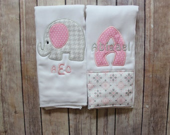 Monogrammed Baby Girl Burp Cloth Set - Personalized Girl Burp Cloth Baby Gift - Baby Shower or New Baby Monogrammed Gift, Elephant Burp