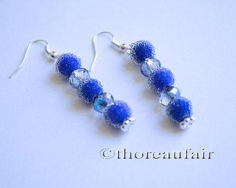 Dangle Earrings Blue Glass and Crystal- Handmade Jewelry