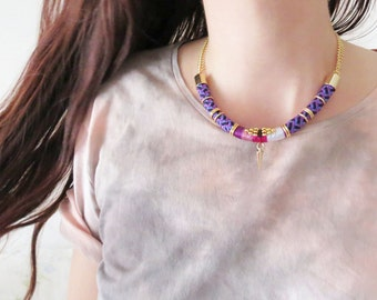 INDYA - purple and gold choker necklace, spike necklace, statement necklace, tribal necklace, edgy necklace, rope necklace, chunky necklace