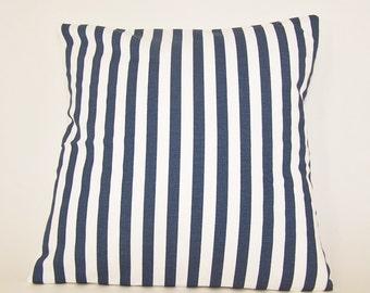 "PILLOW COVER Throw Case Fits 14"" 16"" 18"" 20"" 24 Euro Sham or Lumbar Pillow Premier Prints  Navy White  Stripe Sailing Nautical"