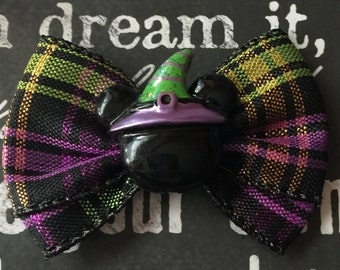 """2"""" Halloween Mickey with Witch Hat Mini Bow"""