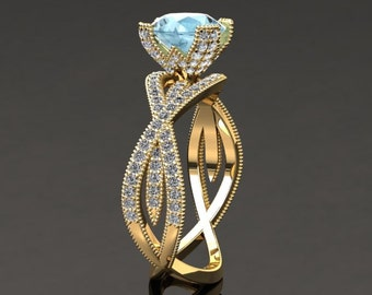 Aquamarine Engagement Ring Aquamarine Ring 14k or 18k Yellow Gold SW4AQUAY