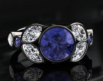 Tanzanite Halo Engagement Ring Tanzanite Ring 14k or 18k Black Gold W16TANZBK