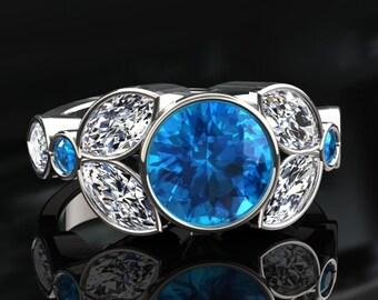 Blue Topaz Halo Engagement Ring Blue Topaz Ring 14k or 18k White Gold W16BU2W