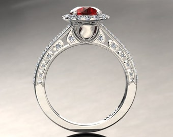 Ruby Engagement Halo Ring Ruby Ring 14k or 18k White Gold W5RUBYW