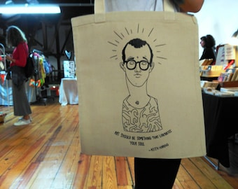 Tote Bag - Screenprint Over Cotton Canvas Tote Keith Haring